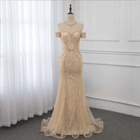 Gold Crystals Mermaid Evening Dress Formal Gown Long Dresses YQLNNE