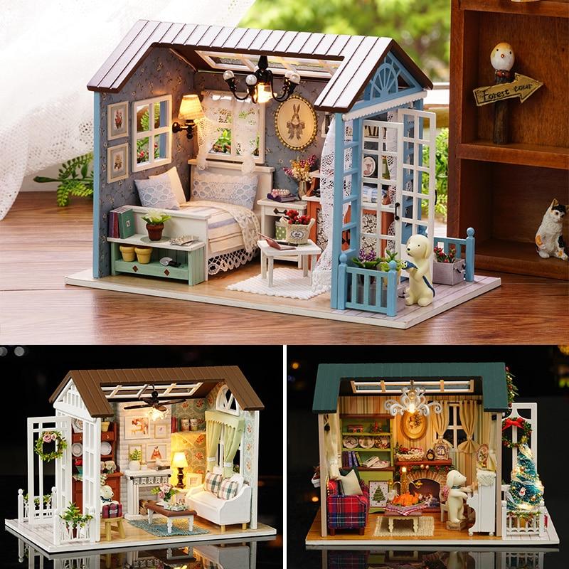 بيت الدمية نموذج مصغر لتقوم بها بنفسك دمية مع الأثاث الأمريكية الرجعية نمط منزل خشبي اليدوية لعبة الغابات مرات Z007 # Eبيوت الدُّمىالألعاب والهوايات -