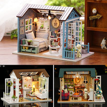 Doll House Miniature DIY Model Dollhouse With Furnitures American Retro Style Wooden House Handmade Toy Forest Times Z007 #E(China)