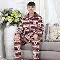 4XL Otoño e invierno masculina engrosamiento de coral polar pijamas ropa de dormir de algodón de los hombres ropa de dormir conjunto de salón de manga larga plus tamaño MQ