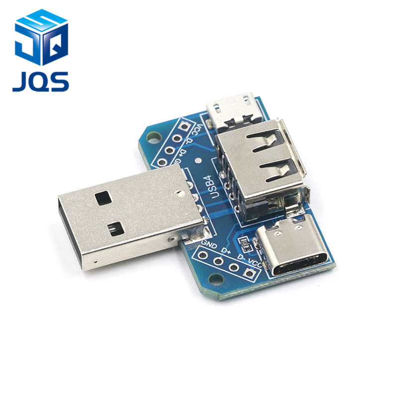 USB Head Switchboard Male USB Connector To Type-c Micro USB Female USB 2.54-4P Transfer Test Board USB Adapter Plate XY-USB4