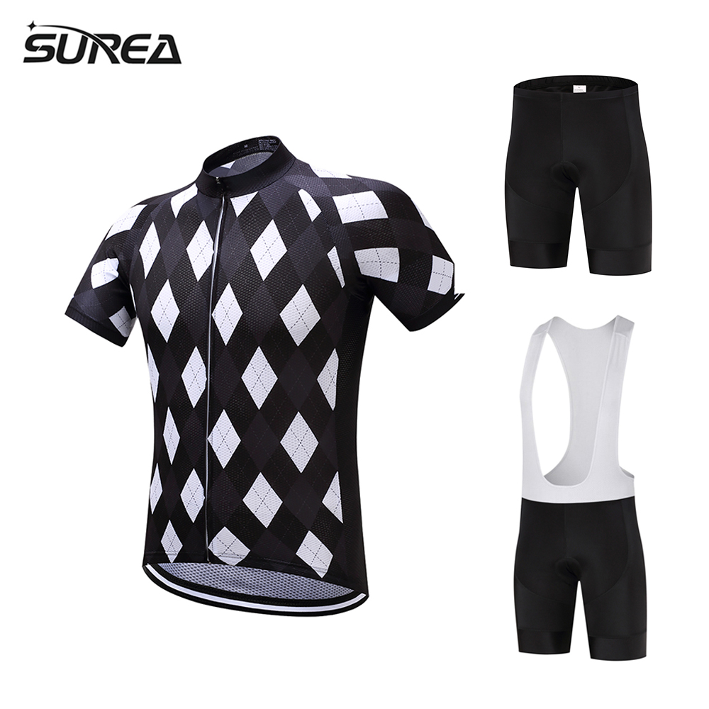 2017 SUREA Short sleeve Summer maillot Cycling Jersey Men sets Ciclismo ropa Bike Quick Dry bike Clothes Bicycle clothing