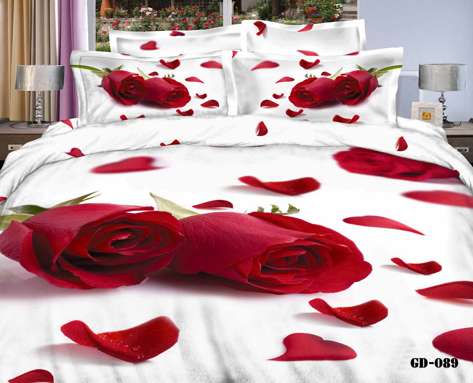 7pcs 3D Red Rose Print California King Bedding Sets Quilt Duvet Cover  Fitted Bed Designer Sheets Bedroom Linen Queen Size Cotton In Bedding Sets  From Home ...