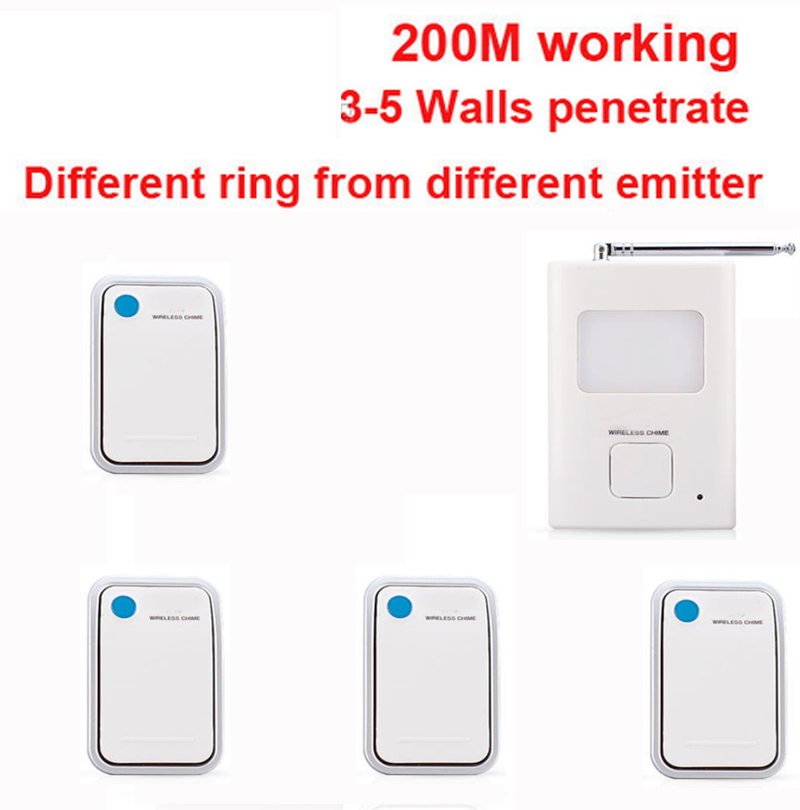 200m work ring bell 4 emitters+1 receivers music doorbell wireless doorbell,wireless door chime bell 36 music door bell ks v2 welcom chime bell sensor