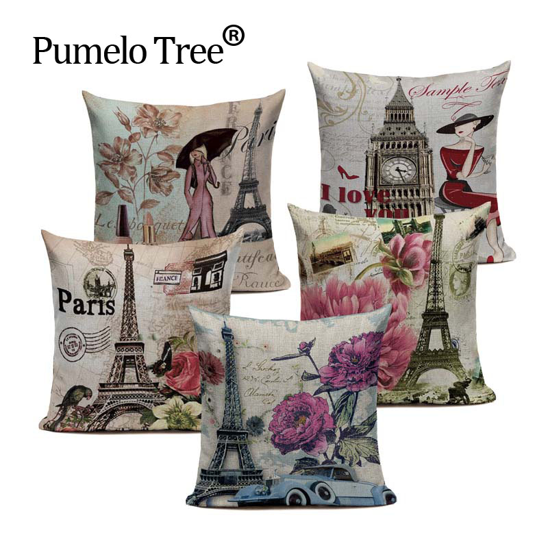 Aliexpress.com : Buy Vintage London Paris Cushion Cover