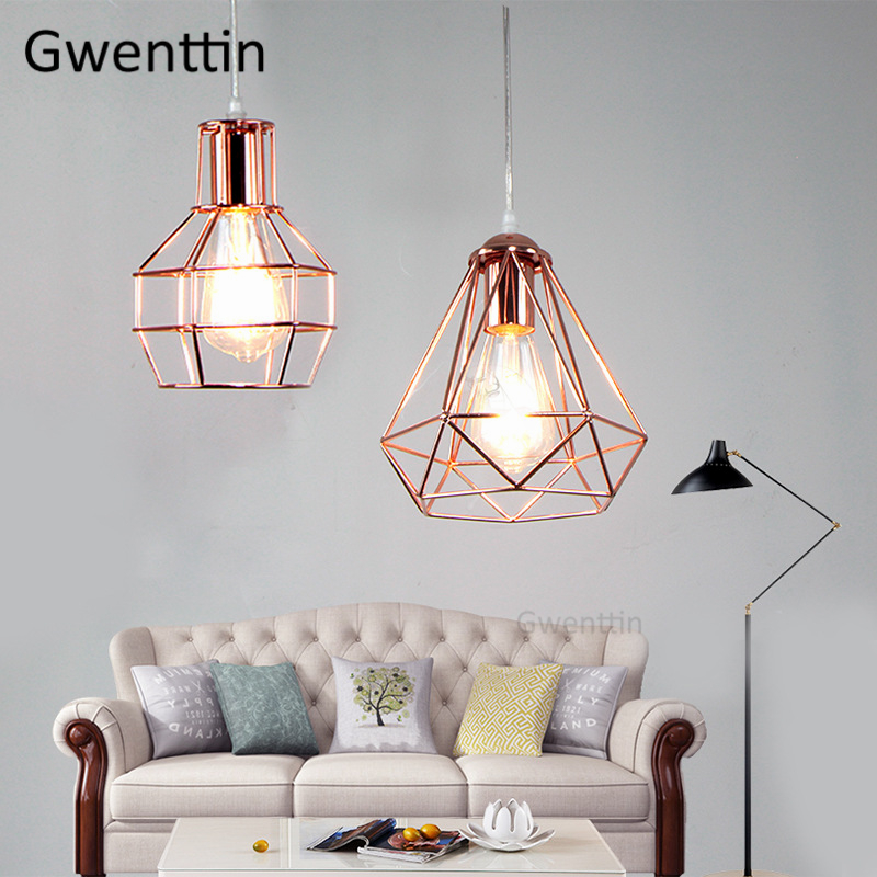 Diamond Bird Cage Pendant Lights Modern Kitchen Hanging Lamps For Dining Room Light Fixtures Living Room Home Decor Luminaire
