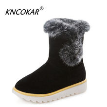 KNCOKAR Winter new European and American fashion ground rabbit hair shoes mouth casual flat snow boots round head women's shoes(China)