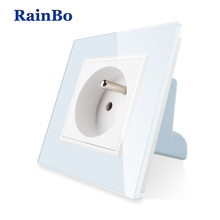 Free Shipping Wall Power Socket New Outlet French Standard White Crystal Glass Panel AC 110~250V 16A RainBo