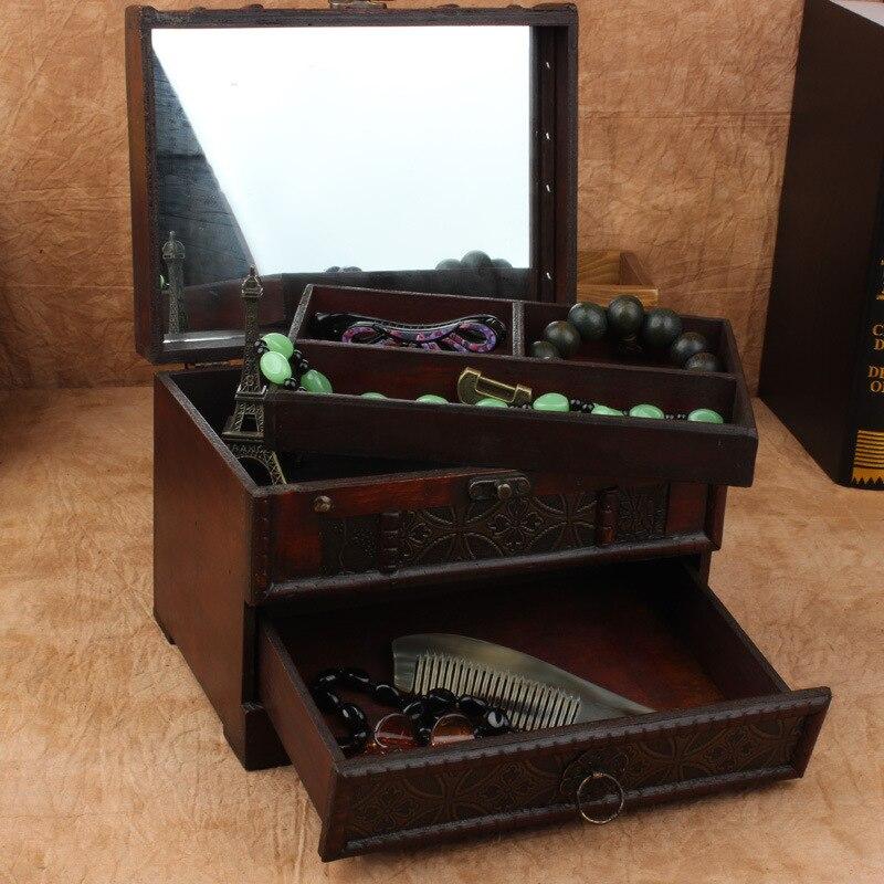 Винтажная коробка для хранения ювелирных изделий, косметический Органайзер, коробка с зеркалом, деревянный Органайзер, китайский Ретро ант