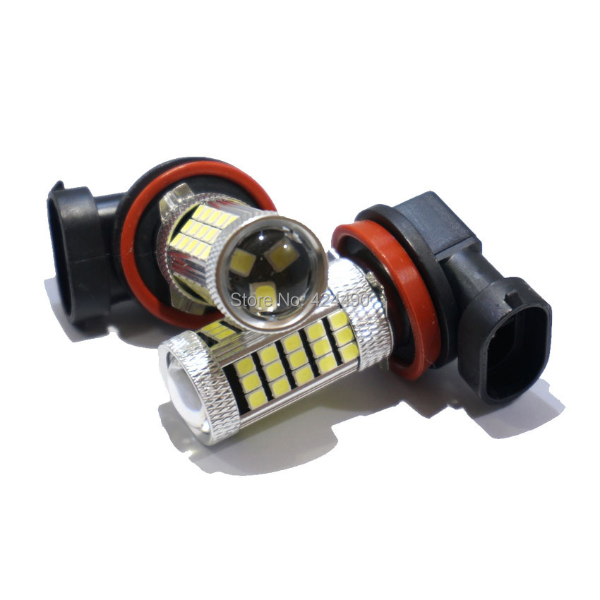 2pcs H11 63SMD 2835 LED Fog light Car Automobiles H11B  Indicator Bulb Tail Lamp daytime running lights Fog Lamps  DC12V 2pcs led car headlight light h15 63 smd 2835 drl daytime running light fog lamp bulb pure white 6000k dc 12v 24v