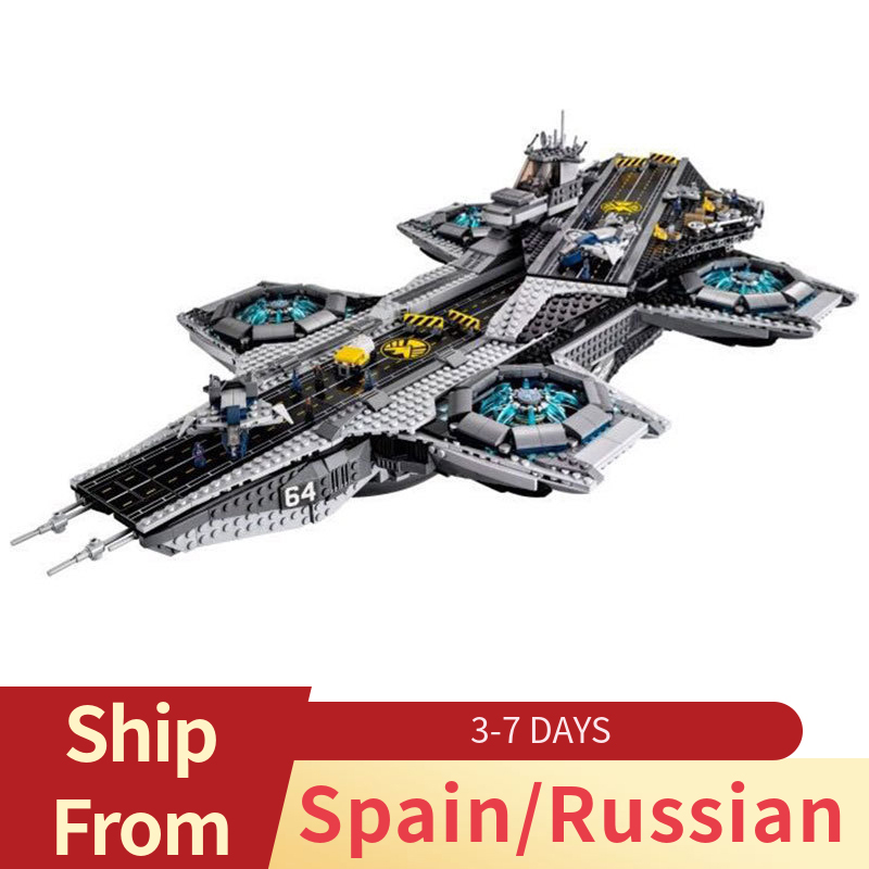 Marvel Series Movie The Avengers SHIELD Helicarrier Captain America Building Blocks Toys For Children Compatible Super