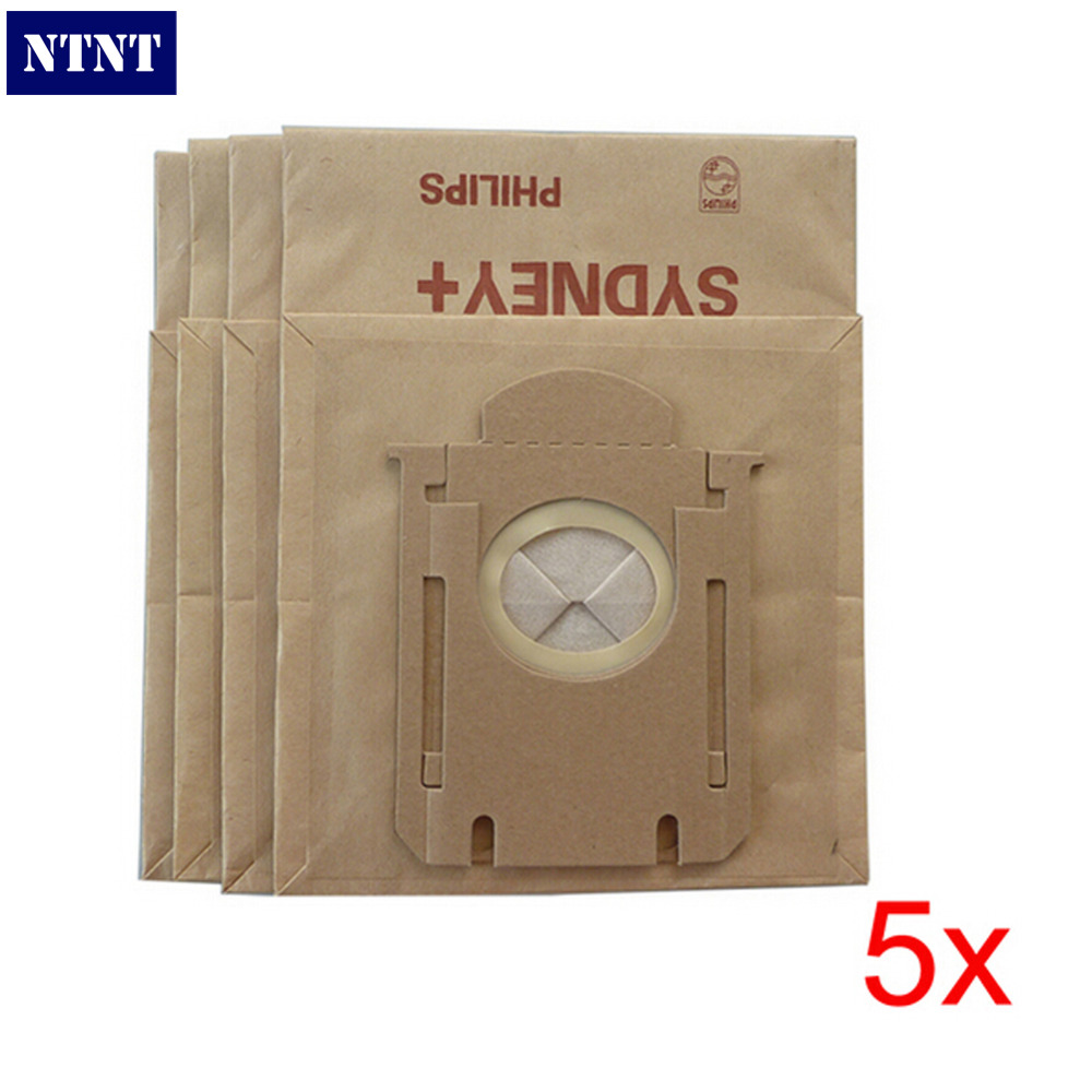 NTNT Hi-Q 5Piece / Lot High efficiency filter paper bag Vacuum Cleaner Dust Bag Suitable For Philips FC8396 8398 8202 HR8345 New
