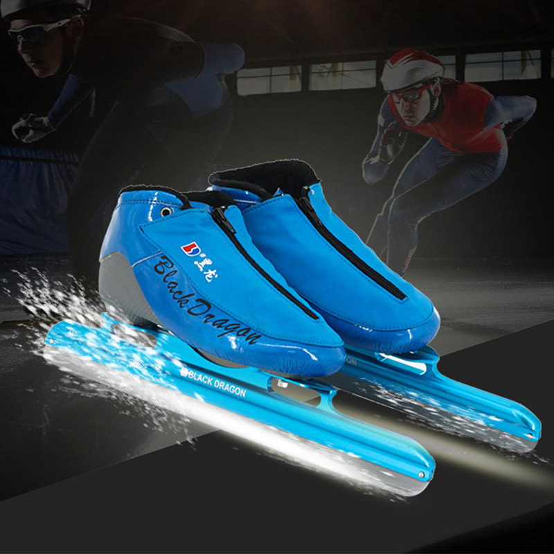 Japy Skate Avenue Leather Speed Ice Blade Skating Shoes Metal Fix Location Knife Racing Skates Comfortable Warm Patines Sneakers szblaze 6061 aluminum alloy tube clap long track ice speedskating blades frames 60hrc dislocation skate shoes knife 1 1mm frame