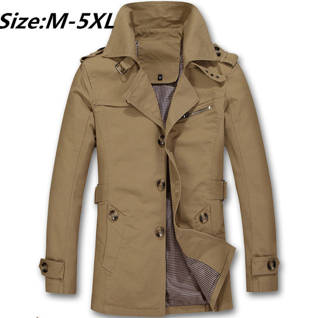 Big Size M-5XL New 2015 Arrival Spring Fashion Trench Coats long British Military Army Green Cotton Slim  Jacket Men A2957
