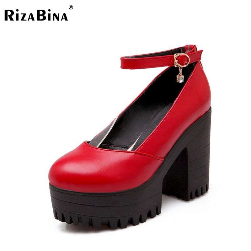 ФОТО women square high heel shoes quality buckle casual spring fashion heeled footwear brand pumps heels shoes size 34-39 P16294