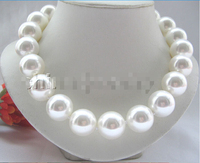 Prett Lovely Women's Wedding Beautiful 20mm bright white perfect round south sea shell pearl necklace real silver jewelry