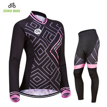 ZEROBIKE Hot Sale Women's Long Sleeve Breathable Cycling Jersey Pants Bike Bicycle Clothing 4D Padded Ropa Ciclismo US Size S-XL