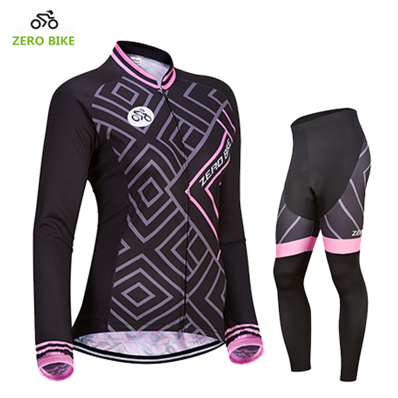 ZEROBIKE Hot Sale Womens Long Sleeve Breathable Cycling Jersey Pants Bike Bicycle Clothing 4D Padded Ropa Ciclismo US Size S-XL