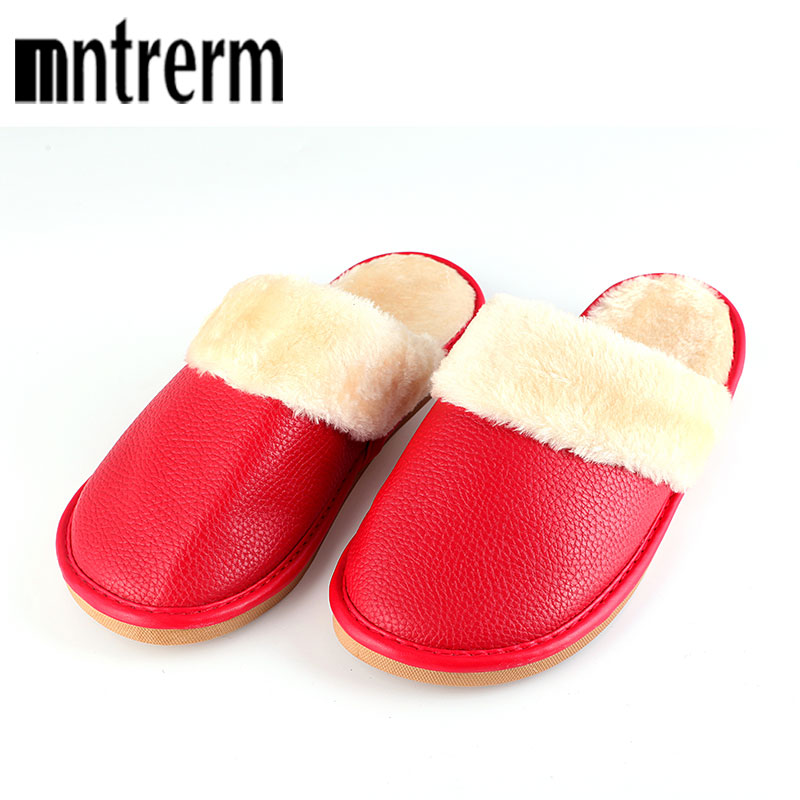Mntrerm 2017 New Warm Indoor Slippers Waterproof Winter Couple With Thick Bottom Home Sofa Pu Leather Slippers For Women shoes plush home slippers women winter indoor shoes couple slippers men waterproof home interior non slip warmth month pu leather