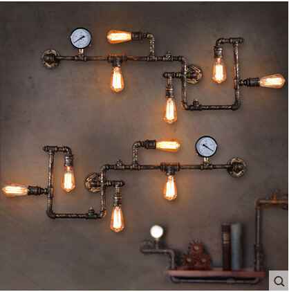 retro industrial wind aisle decoration, personality lighting, American restaurant bar, iron art water pipe wall lamp american industrial style bar aisle clothing store personality probe background wall lamp telescopic led