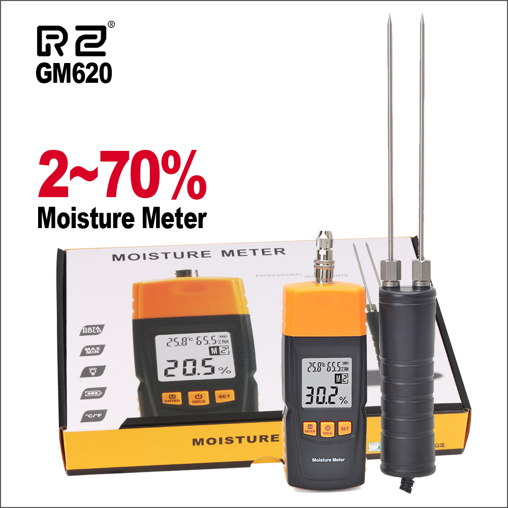 RZ Digital Wood Moisture Meter 2~70% Humidity Tester Timber Damp Detector LCD Display Portable Handheld Moisture Meter GM620
