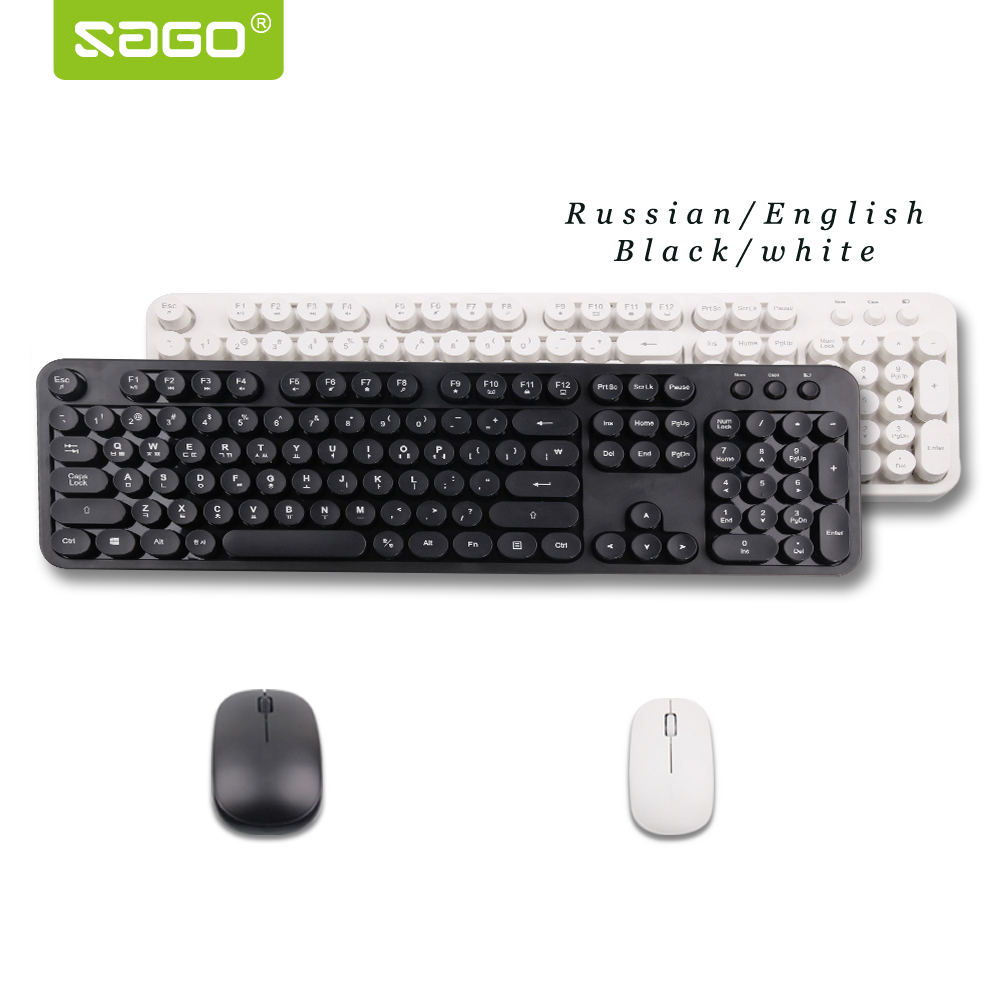 Sago Retro keyboard Russian/English keyboard Mouse 2.4G wireless Mechanical felling office Keyboard Mouse for Copywriter Gamer