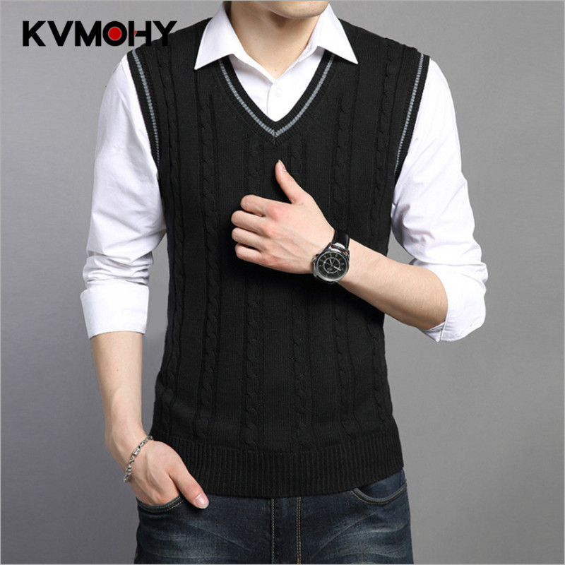 Sweater Men Spring Autumn Male Sleeveless Pullover Male Jacket Slim Fit Casual Knitted Plus Size Woolen Sweaters Vest
