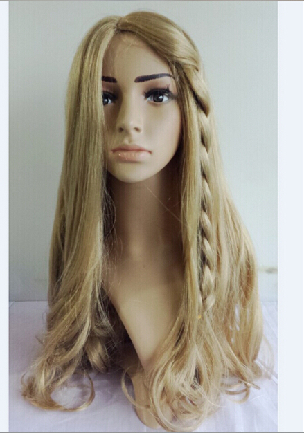 Movie Princess Cinderella Wig Long Curly Ash Blonde Anime Cosplay + Free wig cap 60cm
