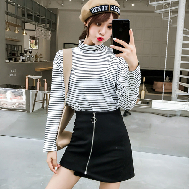 5d7993cdef Korean Style Long Sleeve turtleneck T Shirts Women casual Student T-shirt  Fashion Harajuku black white Striped tops tee Female