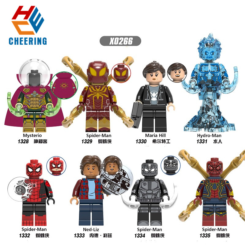 Single Sale Building Blocks Figures Peter Parker Mysterio Spider-Man Maria Hill Hydro-Man Ned-Liz Action Toys For Children X0266