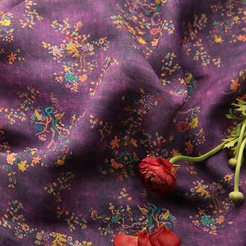 Alta calidad ramio puro tela nueva oscura púrpura estampado de mosaico vestidos de gama alta y vestidos tissus