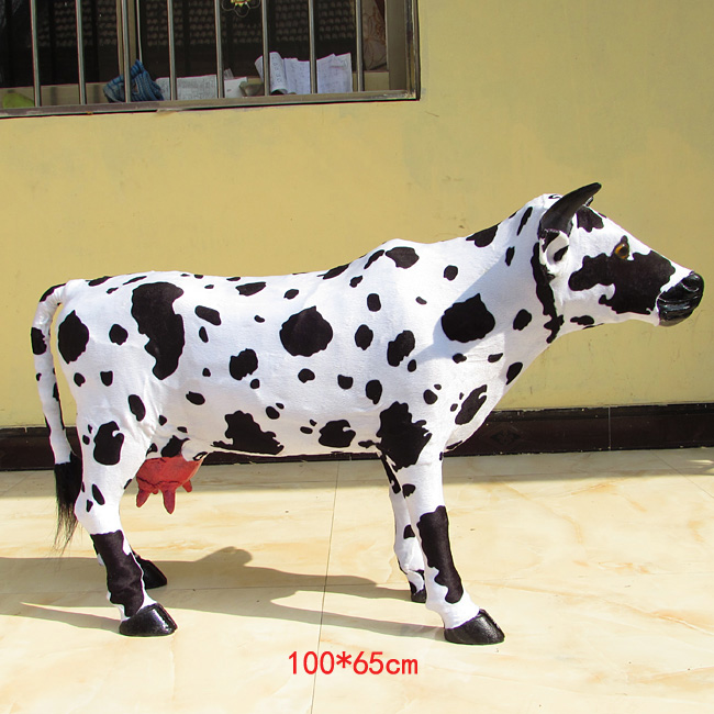 simulation cow model large 100x65cm dairy  cow plastic&fur handicraft,home decoration toy gift w5885
