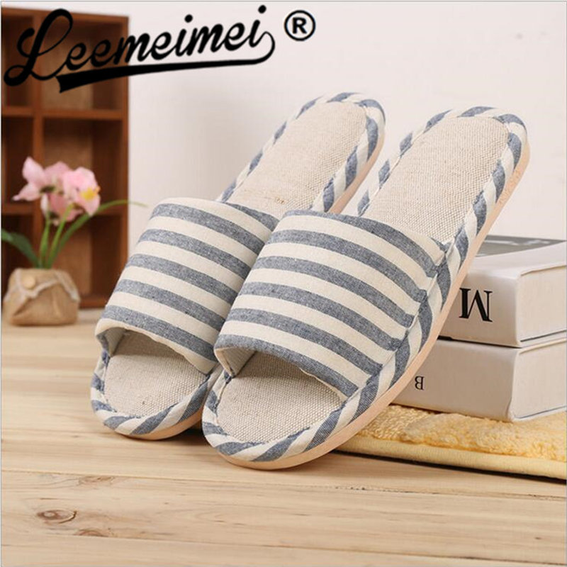 Hemp Striped Women/men Couples Home Slipper For Indoor House Bedroom Flats Comfortable Spring Autumn Shoes slipper
