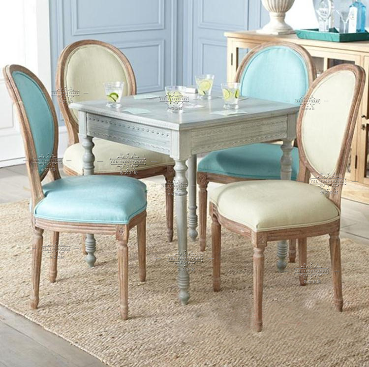 Export Retro Blue French Country Oak Dining Table American