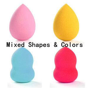 Image 2 - 4pcs/lot Makeup Sponge Cosmetic Puff Mixed Shapes and Colors Facial Liquid Foundation Base Powder Blending Tool