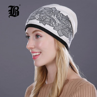 FLB Women S Hat Knitted Wool Hats For Winter Hip Hop Flowers Style Hot Sale