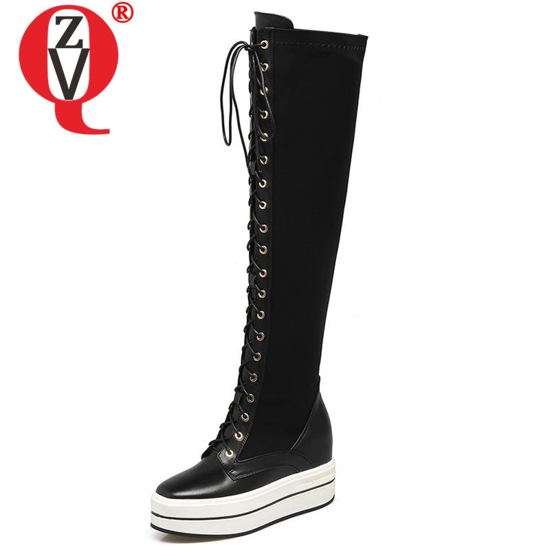 ZVQ newest 2018 genuine leather round toe cross-tied zip super high height increasing platform winter warm over the knee bootsZVQ newest 2018 genuine leather round toe cross-tied zip super high height increasing platform winter warm over the knee boots