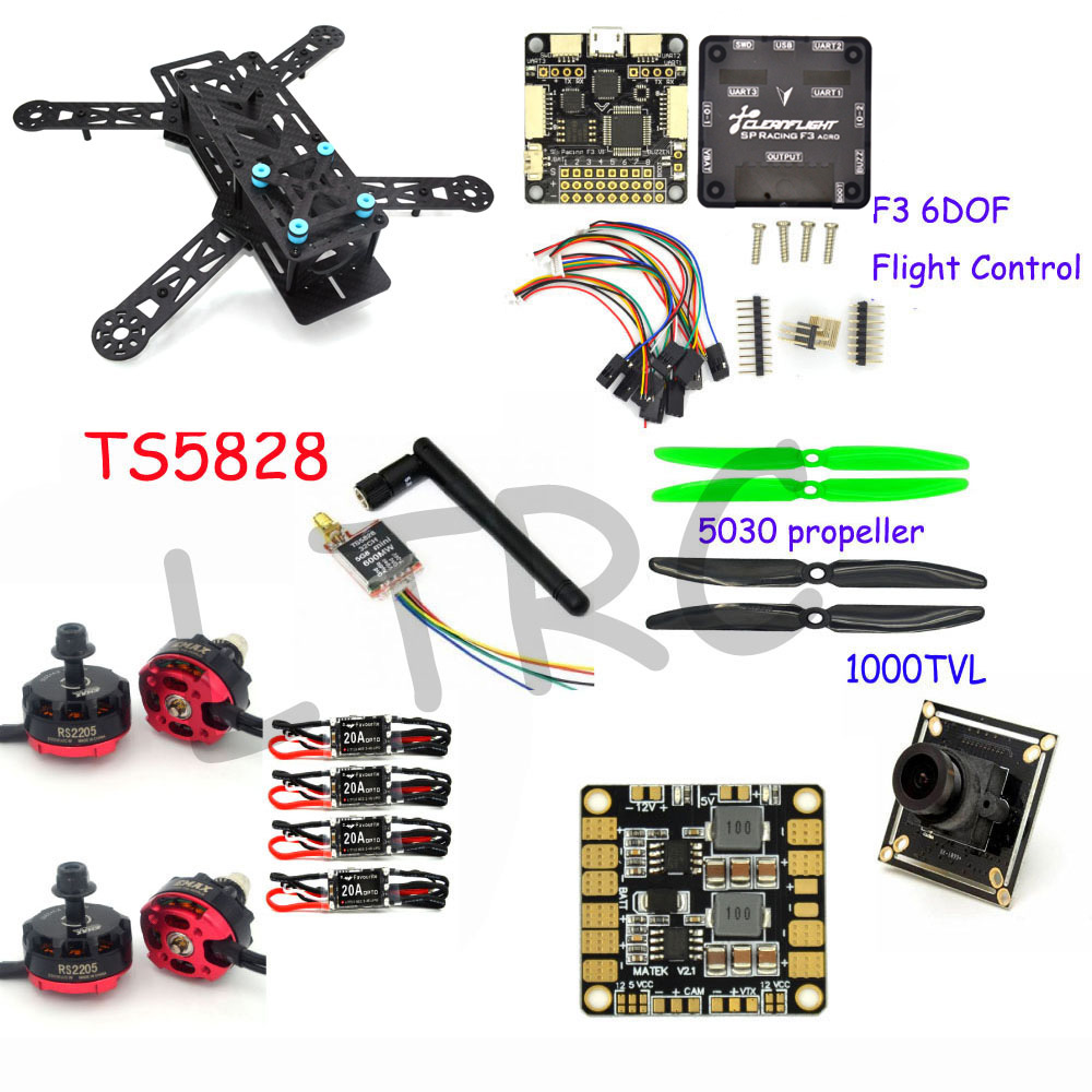 LHI Diy qav250 quadcopter frame kit flight controller zmr250 qav 250 carbon fiber with camera drone accessories quadrocopter rc plane qav zmr250 3k carbon fiber naze 6dof rve6 rs2205 favourite 20a emax