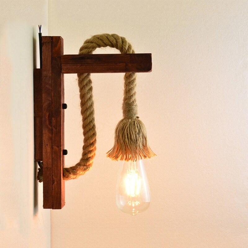 Applique murale Vintage industrielle lampe à LED luminaires muraux corde de lecture chambre décor à la maison monté en bois appliques intérieures