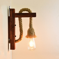 Industrial Vintage Wall Lamp Led Lamp Wall Lighting Fixtures Rope Reading Bedroom Home Decor Mounted Wooden Wall Lights Interior