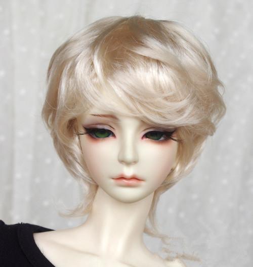 Doll wigs imitation mohair wigs light gold color short curly hair available for 1 4 1
