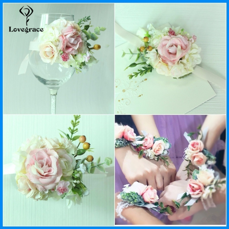 Lovegrace Artificial Flowers Silk Rose Wrist Corsage Bracelet Bridesmaid Hand Flowers White Wedding Bouquet Supplies Bridal Prom