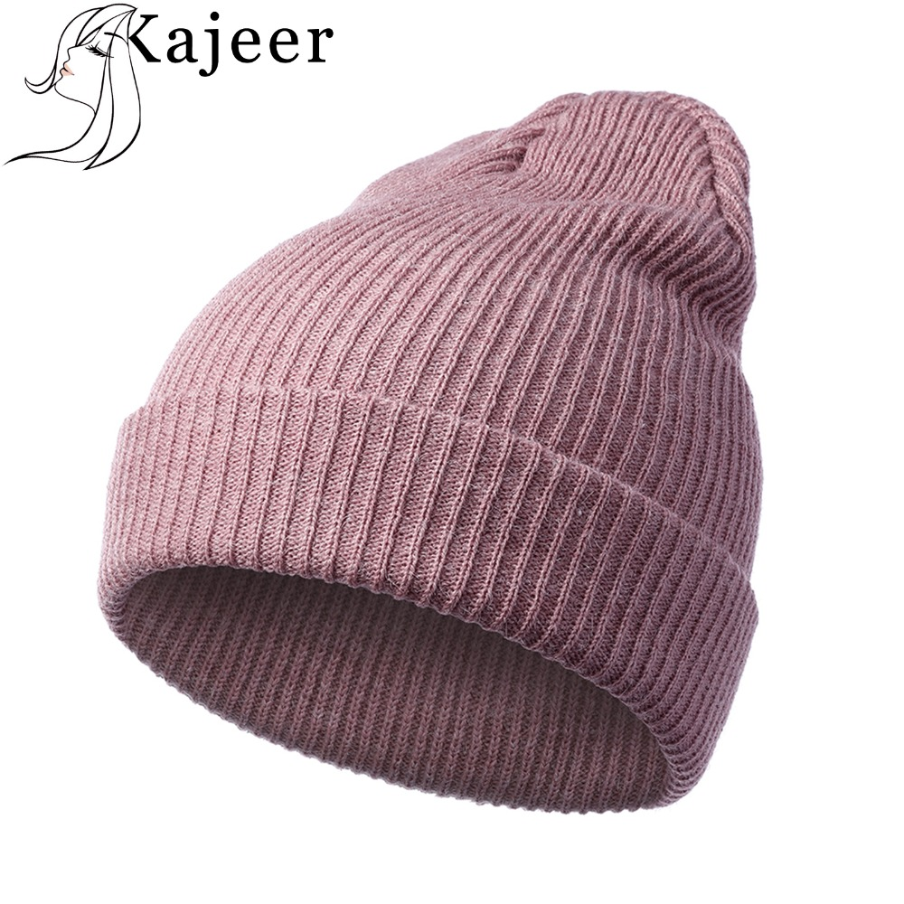 Kajeer Brand Women Autumn Winter Rabbit Hair Hat Fashion Winter Knitted Wool Hats   Skullies     Beanies   Cap Hats for Girls Solid Caps