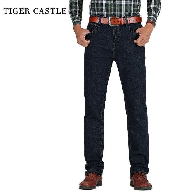 נמר טירה Mens גבוהה מותניים ג ינס כותנה עבה קלאסי למתוח ג ינס שחור כחול זכר ג ינס מכנסיים אביב סתיו גברים סרבל