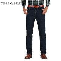 TIGER CASTLE Mens High Waist Jeans Cotton Thick Classic Stretch Jeans Black Blue Male Denim Pants Spring Autumn Men Overalls