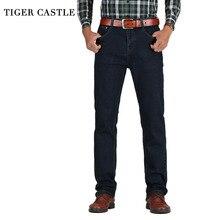 TIGER CASTLE męskie jeansy z wysokim stanem bawełniane grube klasyczne jeansy ze streczem czarne niebieskie męskie spodnie dżinsowe wiosna jesień kombinezony męskie