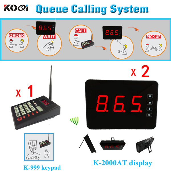 Led-anzeige queue-management-system, 1 sender K-999 tastatur + 2 warteschlange display K-2000AT