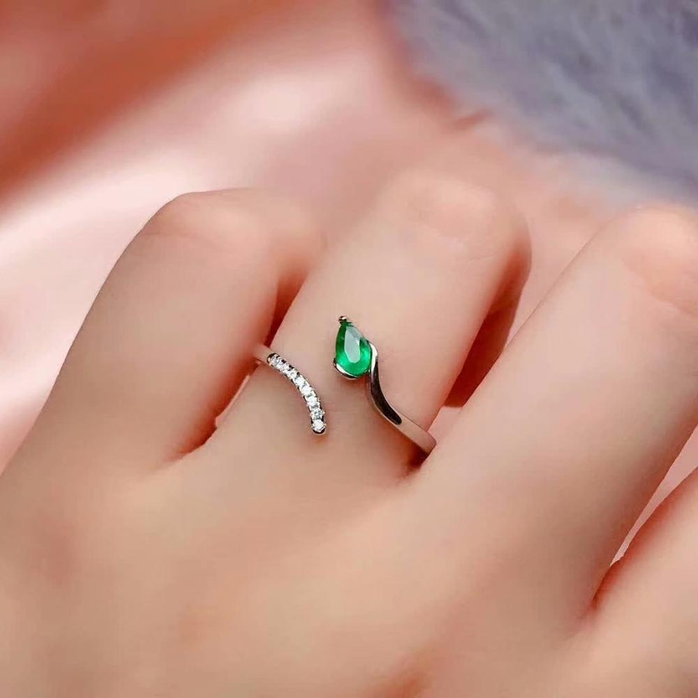 shilovem 925 sterling silver real Natural Emerald Rings fine Jewelry women trendy wedding open wholesale 3*5mm cj0305288agml