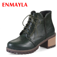 ENMAYLA Autumn Faux Suede Lace-up Ankle Boots Women Round Toe Shoes Woman High Heels Platform Womens Casual