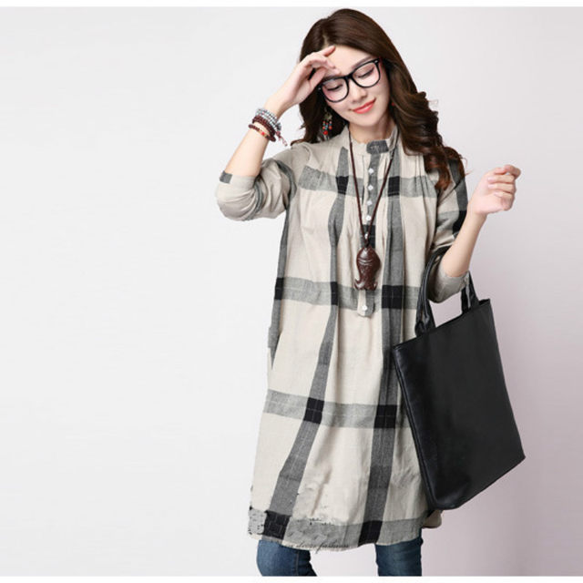 online shop retro plaid loose casual maternity dresses fall winter
